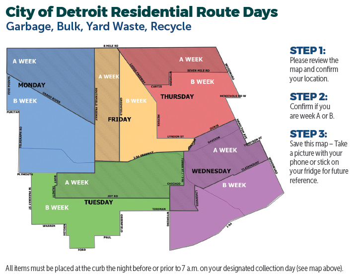 Detroit Trash and Recycling Schedule Map
