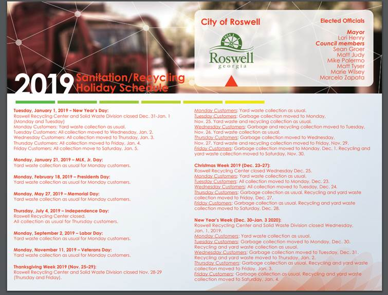 Roswell Garbage Pickup Schedule For Christmas 2020 Facility Guidelines Page
